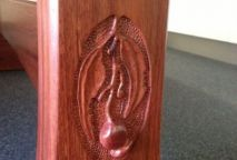 Carve detail on Jarrah Dining Table leg
